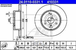 ATE 2x Disques de Frein plein Recouvert 24.0110-0331.1