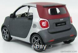 NOREV 1/18 Smart Fortwo Cabriolet 2015 Mat Gris Argent Bordeaux B66960290
