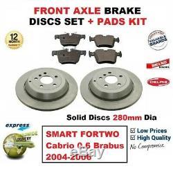Pour Smart Fortwo Cabriolet 0.6 Brabus 2004-2006 Essieu Avant Frein Pads +